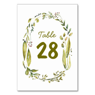 Watercolor Wreath Rustic Wedding Table Numbers