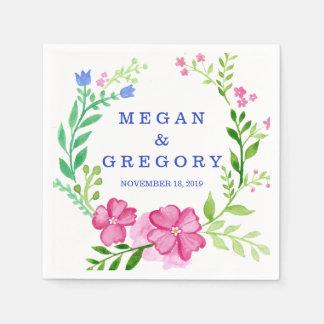 Watercolor Wreath Wedding Paper Napkin