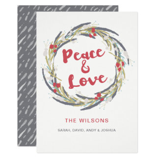 Watercolor Wreath whimsy Holiday Greeting Card