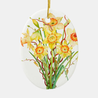 Watercolor Yellow Daffodils Spring Flowers Ceramic Oval Ornament