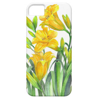 Watercolor Yellow Day Lilies Floral Art Case For The iPhone 5