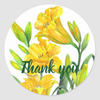 Watercolor Yellow Day Lilies Floral Art Classic Round Sticker