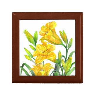 Watercolor Yellow Day Lilies Floral Art Gift Box