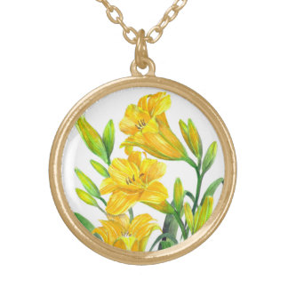 Watercolor Yellow Day Lilies Floral Art Gold Plated Necklace