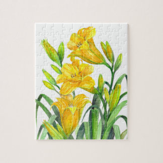 Watercolor Yellow Day Lilies Floral Art Jigsaw Puzzle