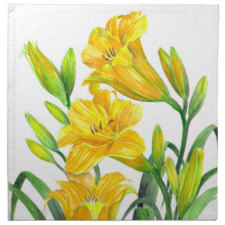Watercolor Yellow Day Lilies Floral Art Napkin