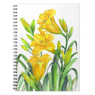 Watercolor Yellow Day Lilies Floral Art Notebook