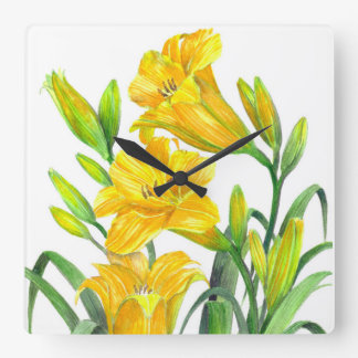 Watercolor Yellow Day Lilies Floral Art Square Wall Clock