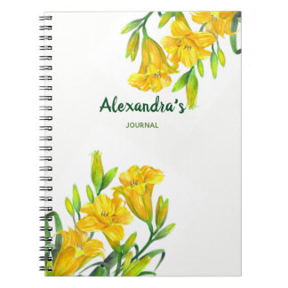 Watercolor Yellow Day Lilies Floral Illustration Notebooks