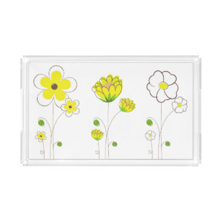 Watercolor Yellow Flower Tray