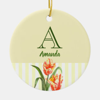Watercolor Yellow Parrot Tulip Floral Art Monogram Ceramic Ornament