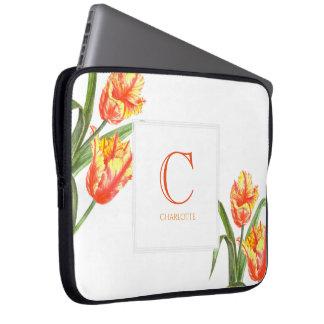 Watercolor Yellow Parrot Tulip Floral Art Monogram Laptop Sleeve