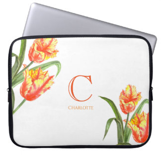 Watercolor Yellow Parrot Tulip Floral Art Monogram Laptop Sleeve