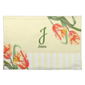 Watercolor Yellow Parrot Tulip Floral Art Monogram Placemat