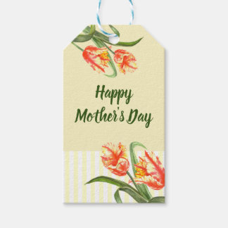 Watercolor Yellow Parrot Tulip Floral Mother's Day Gift Tags