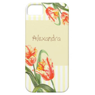 Watercolor Yellow Parrot Tulips Floral Art iPhone 5 Case