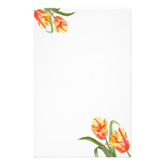 Watercolor Yellow Parrot Tulips Floral Art Stationery