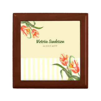 Watercolor Yellow Parrot Tulips Floral Art Stripes Gift Box