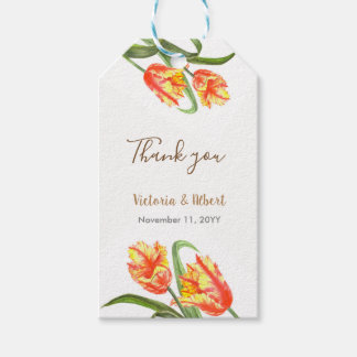 Watercolor Yellow Parrot Tulips Floral Art Wedding Gift Tags
