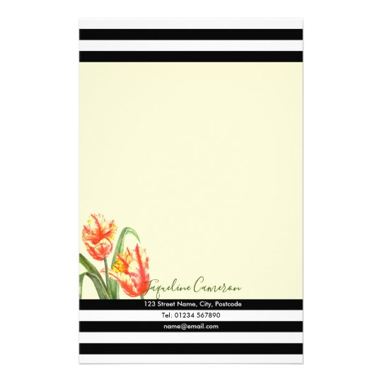 Watercolor Yellow Parrot Tulips Illustration Stationery