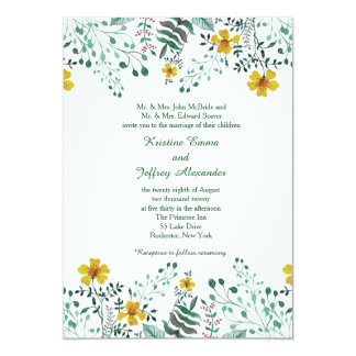 Watercolor Yellow Primrose Garden Wedding Card
