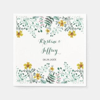 Watercolor Yellow Primrose Garden Wedding Disposable Napkin