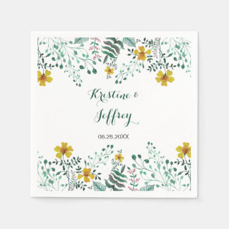 Watercolor Yellow Primrose Garden Wedding Napkin