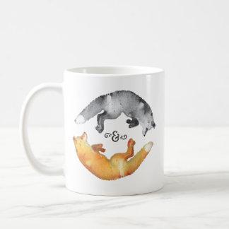 Watercolor Yin Yang fox Coffee Mug