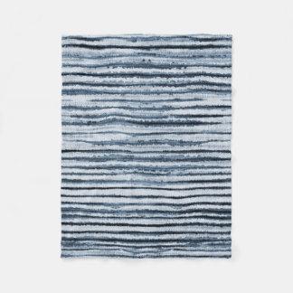 Watercolor Zebra Stripes in Blue Fleece Blanket