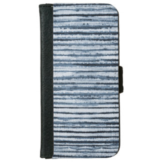 Watercolor Zebra Stripes in Blue iPhone 6 Wallet Case