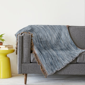 Watercolor Zebra Stripes in Blue Throw Blanket