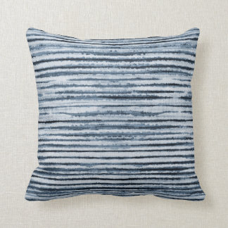 Watercolor Zebra Stripes in Blue Throw Pillow
