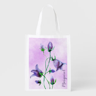 Watercolored bluebells on ultra violet add a name reusable grocery bag