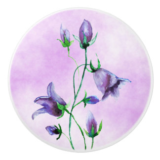 Watercolored bluebells on ultra violet ceramic knob