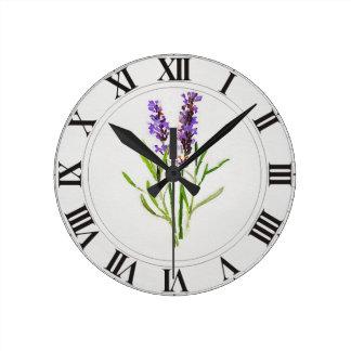 Watercolored Lavender Green Botanical Clockface Round Clock
