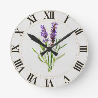 Watercolored Lavender Green Botanical Clockface Round Clock