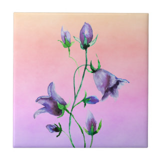 Watercolored violet bluebells on violet and peach tile
