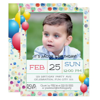 Watercolors and Balloons Photo Birthday Party Card
