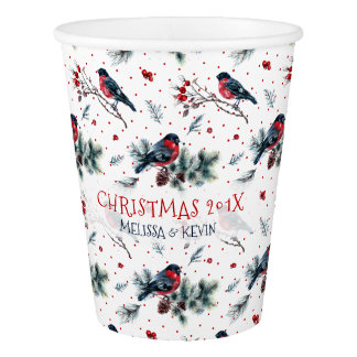 Watercolors Bull-finch & Christmas Berries Pattern Paper Cup