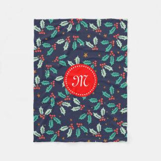 Watercolors Christmas Holly & Red Berries Pattern Fleece Blanket