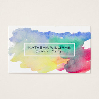 Watercolors Colorful Shape Modern Interior Design Business Card