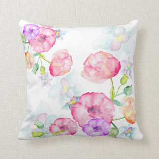 Watercolors Floral Design Throw Pillow