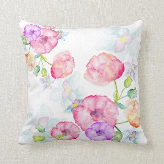Watercolors Floral Design Throw Pillow