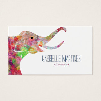 Watercolors Floral Elephant Business Card