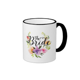 Watercolors Floral Wreath Black Text-The Bride Ringer Coffee Mug