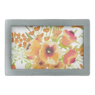 Watercolors flowers belt buckle