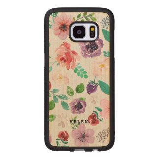 Watercolors flowers pattern monogram 2 wood samsung galaxy s7 edge case