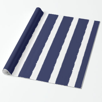 Watercolors Navy and White Stripes Wrapping Paper