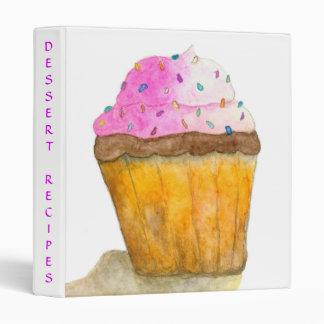 Watercolors Pink Cupcake and Sprinkles, Recipes Binders