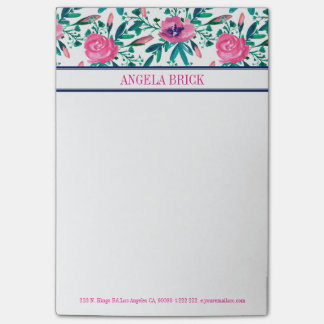 Watercolors Pink Flowers Green Leafs Post-it Notes